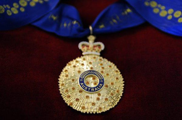 Officer in the Order of Australia medal awarded to Peter Holdsworth